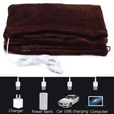 Washable Heated Electric Throw Rug Fleece Snuggle USB Charging Blanket Heating #