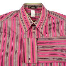 VERSACE Pink Stripe Vtg Luxury FC Casual Mens Dress Shirt - EU 50 / Medium