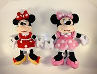 "DISNEY Plush Minnie Mouse 15"" Pink & Red Polka Dot Dress & Bow Stuffed Animal 2"
