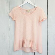 ANTHROPOLOGY Saturday Sunday sz XS Pink Ruffle Hem Narda Tee Top Short Sleeve