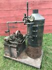 Antique Sipp Horizontal Steam Engine with Boiler Crosby Gauge Whistle Water Tank