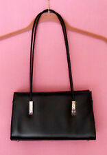 FAUX LEATHER WOMEN'S VINTAGE NEW BLACK HANDBAG WITH SILVER FEET