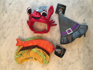 Lot of 3 Halloween Cat Hats Costumes Fish Taco, Crab, Witch Hat NWT
