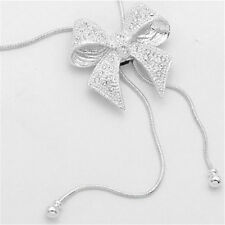 Women Crystal Bowknot Silver Plated Statement Pendant Long Chain Necklaces