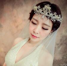 Ribbon Rhinestone Accessory Tiara Wedding Bridal Crown Tassel Frontlet 1365