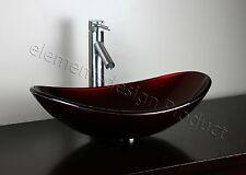 Bathroom Oval  Artistic Glass Vessel Vanity Sink Brushed nickel Faucet B9051N1