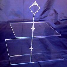 Two Tier Square Cake Stand - Clear