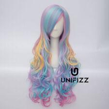 70cm Long Curly Hair Rainbow Unicorn Gothic Lolita Cosplay Drag Race Wig + Cap