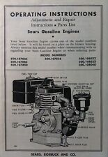 "Sears Gasoline Engine 500.107025 Briggs Stratton model ""8"" Owner & Parts Manual"