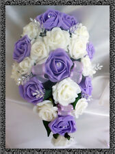 BRIDES TEARDROP BOUQUET , Wedding Flowers Ivory & Lilac roses with diamante