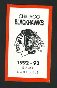 Chicago Blackhawks--1992-93 Pocket Schedule--Coke