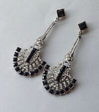Hannah Art Deco Revival Earrings Jazz Age Black Rhinestone Fans