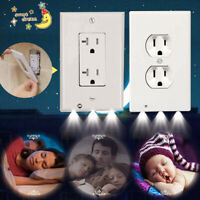 Wall Plug In Outlet Cover Plate W/ LED Night Lights For Baby Bedroom Hallway