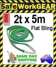 (2 Pk) 2 Tonne 5 Metre Flat Web Lifting Sling With Tag Webbing Green