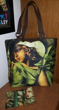 New Tamara de Lempika art tote travel bag purse w/ cosmetic bag. Brown fabric