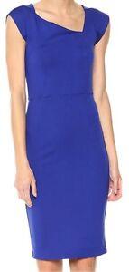FCUK French Connection Size 12 BNWT Blue Dress Asymmetric Neckline Cap Sleeve