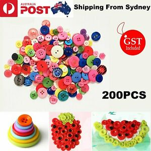 200X Candy Buttons Resin Round Mixed Color 9-20mm Craft Plastic Sewing Christmas
