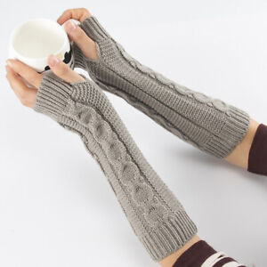 Wrist Protector Fingerless Long Gloves Half Finger Soft Stretch Arm Warmers AA