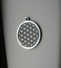 Flower of Life Pendant, Tibetan Silver, 40x44mm, Make Your Own Necklace