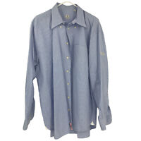 Peter Millar Adult XL Blue Check Button Down Shirt Mens XL Extra Large Cotton