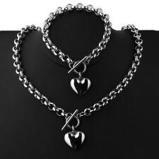 New Arrive Women Jewelry Set Silver Stainless Steel Heart Necklace Bracelet 18+8