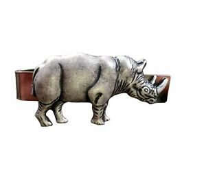 Handmade Oxidized Silver Rhino Tie Bar