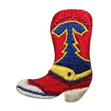 a6fa0dd0546 ID 8785 Western Cowboy Boot Patch Work Shoe Riding Embroidered Iron On  Applique