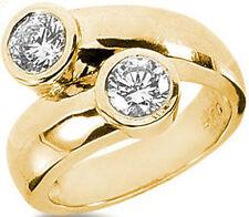 1.01 carat total 2 Round Diamond Wedding Anniversary Yellow Gold Ring Fancy Band