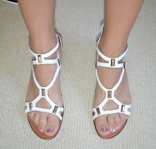 Ascari Designer White & Gold Details Strappy Wedge Sandals All Leather Flats 39