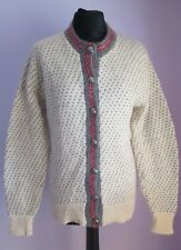 VTG Ladies LL BEAN Cream/Grey Wool Mix Nordic Style Cardigan Size Medium (30f)