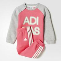 adidas girls pink/grey infant/baby tracksuit. Jogging suit. Sizes 3M - 3Y