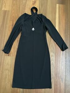 Joseph Ribkoff Black Diamante Stretch Jersey Long Sleeve Halter Sheath Dress 12