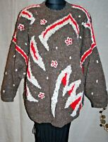 "AMAZING Vintage FIRE Jumper 64"" Bust Plus Size Wool Hand Knit Unique ART TO WEAR"