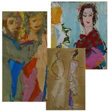 Ella Ra'ayoni 3 Fabric Collage s Vienna Austria Israel Modern Art Jewish Judaica