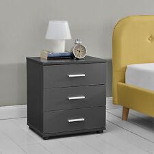 [en.casa]® Nachttisch mit 3 Schubladen Grau Nachtkommode Beistelltisch Büro