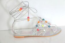 Sophia Webster Arielle Beaded Lace-Up Tie Around Wrap Leather Flat Sandals 38.5