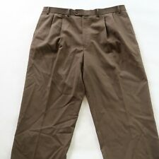 Lauren Ralph Lauren Mens Wool Pleated Total Comfort Brown Dress Pants Size 40x32