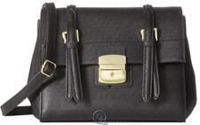 Ladies London Fog Layla Small Flap Crossbody Bag Black w/ Gold Hardware