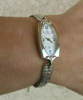 "Helbros 21 Jewels Watch White Gold Filled Bracelet MECHANICAL 6 1/2"" Wrist WORKS"