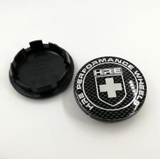 "4pc 65mm 2.55"" Carbon Fiber Black HRE Performance Logo Wheel Rim Center Hub Caps"
