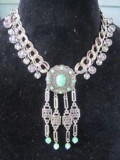 Vintage Faux Jade Medallion Statement Necklace-Vintage Repurposed Original! OOAK