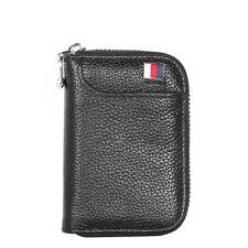 Black Unisex Credit Card Holder Genuine Leather RFID Blocking Zipper Wallet Bags