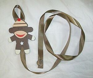 monkey with brown ribbon barrette bow hair accessories storage handmade