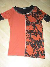 T-Shirt long lang Tunika Kapalua orange schwarz leo Muster 40 42 1 x getragen
