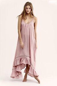 Free People Maxi Dress Dusty Pink Amor Gold Crochet Ruffle Swing Satiny M NWT