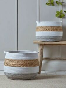 Stripe Natural Basket *Set of 2 *Woven Cotton Seagrass Rope *White/Grey*H17/22cm