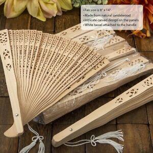 150 Intricately Carved Sandalwood Fan Favors Wedding Bridal Shower Party Favors