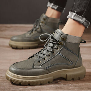 Men's Retro Casual Pu Leather Ankle Boots Lace Up Round Toe Shoes