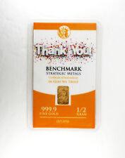 1/2 GRAM GOLD (THANK YOU) BULLION BAR PURE FRACTIONAL GOLD .999 FINE f2