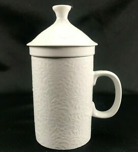 World Market Tea Infuser Mug Steeper Insert & Lid All White Floral Embossed